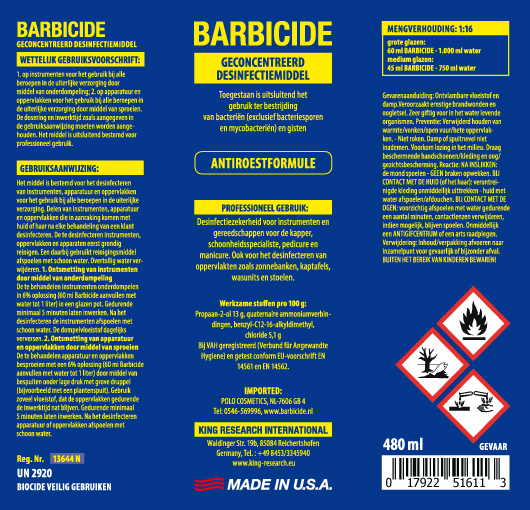 Barbicide Spray Label